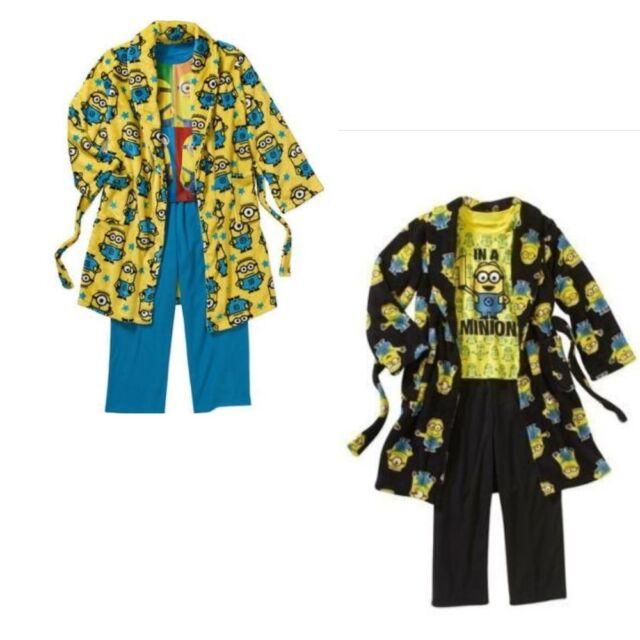 New Boys Despicable Me 3pc Robe & Pajama Set Sleepwear SZ 6/7 8 Great Gift