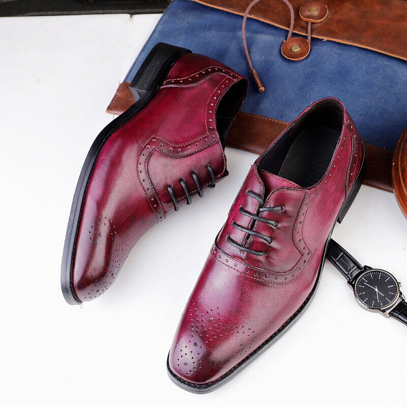 British Retro Mens Leather Pointed Toe Flats Brogue Lace Up Business Dress scarpe