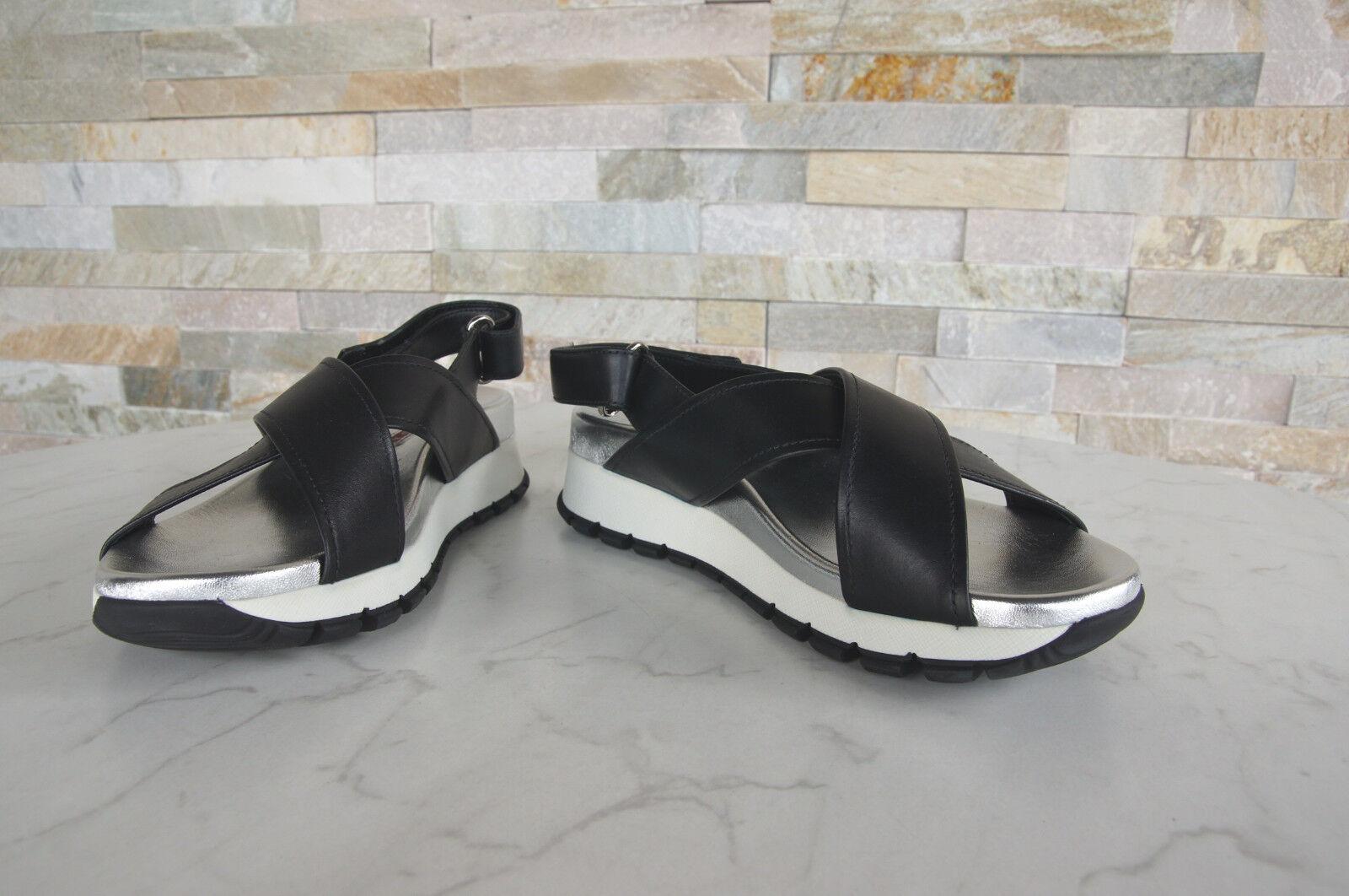 PRADA T T T 36,5 Sandales 3x6022 Chaussures Velcro NOIR ARGENT NEUF EX Prix Recommandé d25359