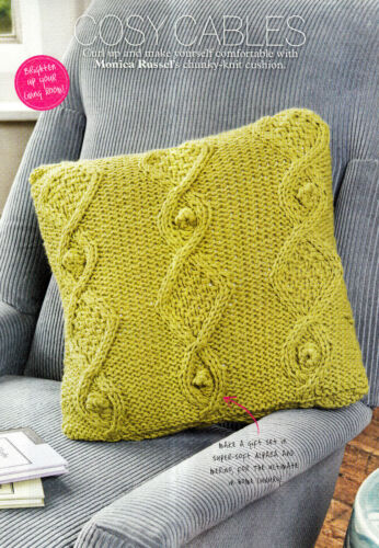 KNITTING PATTERN HOME 39x39cm CHUNKY CABLE CUSHION COVER BOBBLES ARAN SKM AUA