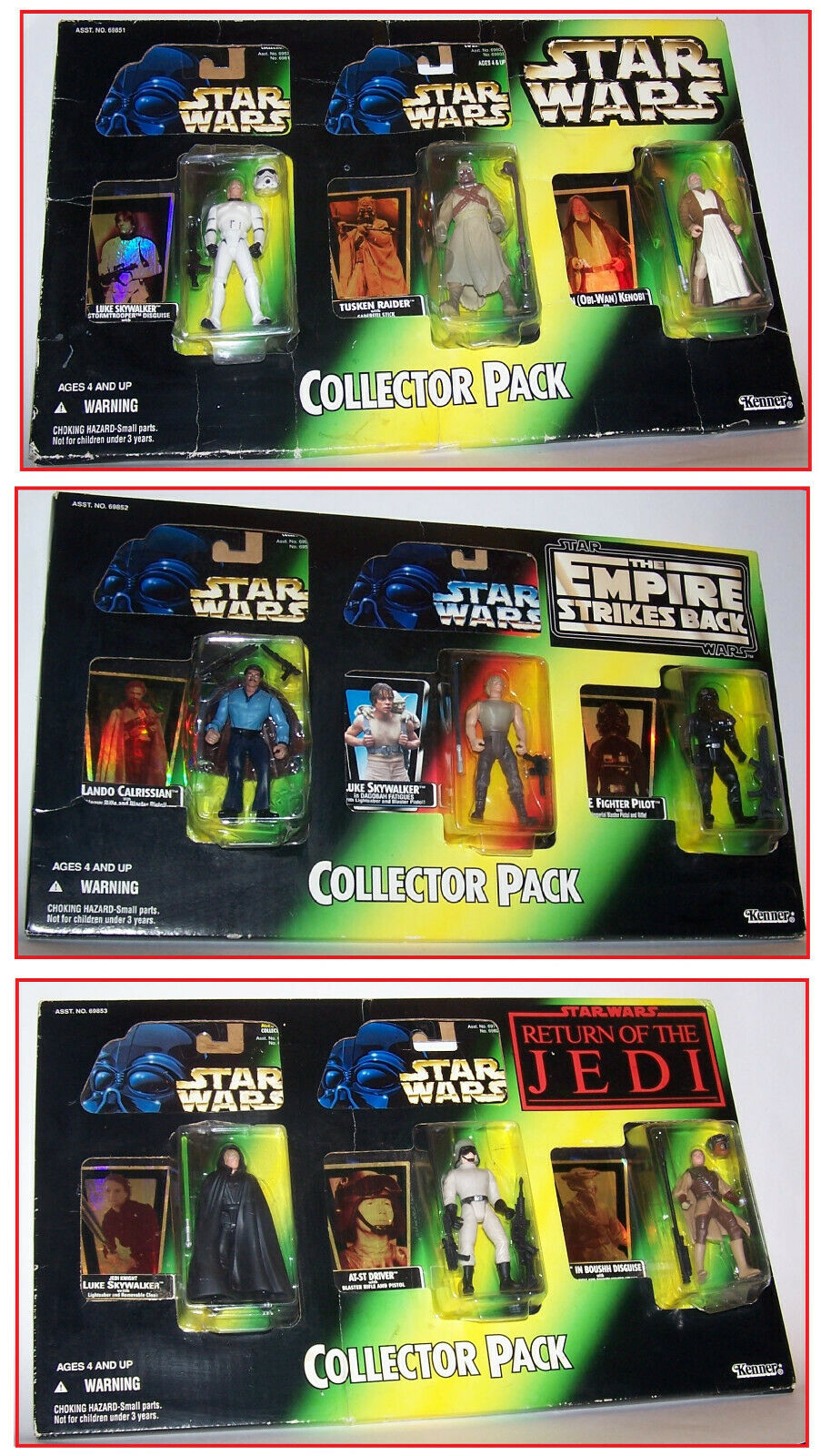 3 Vintage 1997 Star Wars Power of the Force POTF2 Collector 3 Pack Sets