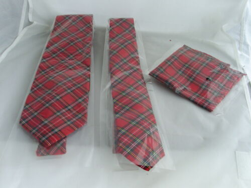 "Tartan Red Mens Tie-Classic 3.3/"" =8cm OR Skinny 2.5/"" =6cm OR Hanky 9/"" OR Set 7B"