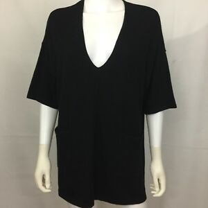 Ann-Taylor-LOFT-Sweater-Top-Sz-Small-Black-Vneck-cotton-career-pockets-tunic