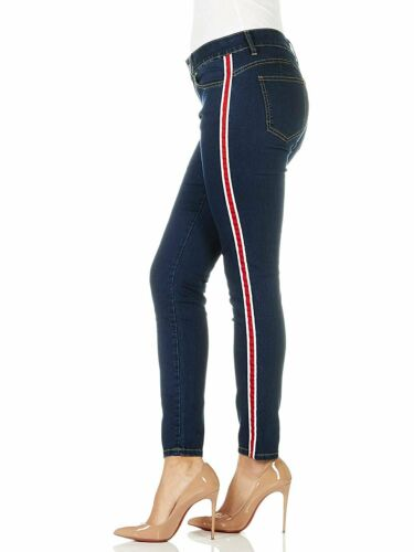 CG JEANS Women/'s Cute Side Race Stripe Juniors Skinny Fit Slim Low Rise Denim