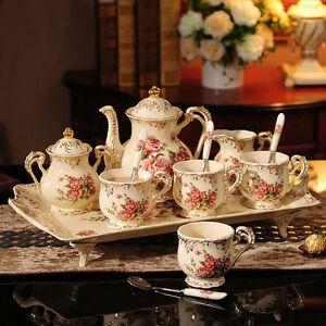 Rose-Motif-porcelaine-the-cafe-theiere-sucrier-pot-a-lait-Tasses-plateau-8-Pcs0