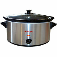 (new) Singer 5.5l Slow Cooker - Easy Clean Inner Pot, Brushed Stainless Steel
