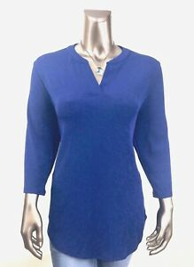 CHICO-039-S-TRAVELERS-NEW-SIZE-0-S-BLUE-V-NECK-3-4-SLEEVES-TUNIC-TOP
