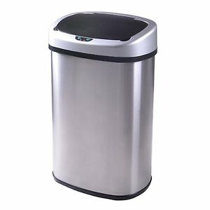 New 13 Gallon Touch Free Sensor Automatic Stainless Steel Trash Can Kitchen 50R