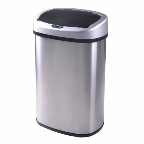 New-13-Gallon-Touch-Free-Sensor-Automatic-Stainless-Steel-Trash-Can-Kitchen-50R