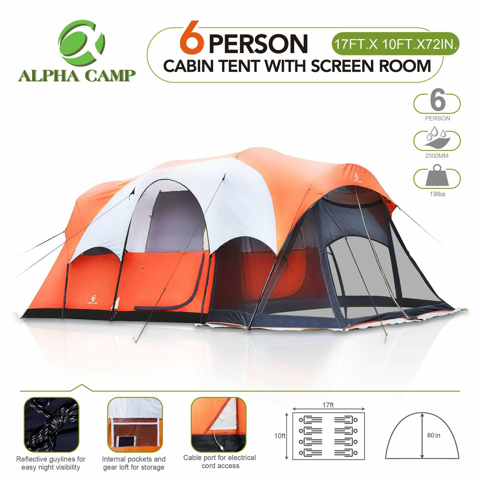 ALPHA CAMP 6 Person Family Tent with Screen Room Cabin, 17' x 9', orange