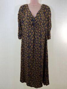 MONSOON-ochre-yellow-amp-navy-blue-floral-print-midi-tea-dress-size-12-euro-40