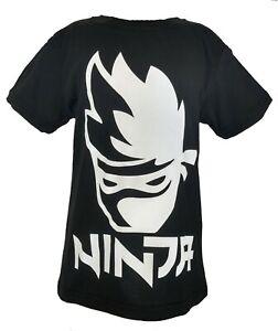 on sale b55f2 7e9fa Dettagli su T Shirt Ninja Logo player Maglietta Nera ragazzo bambino adulto