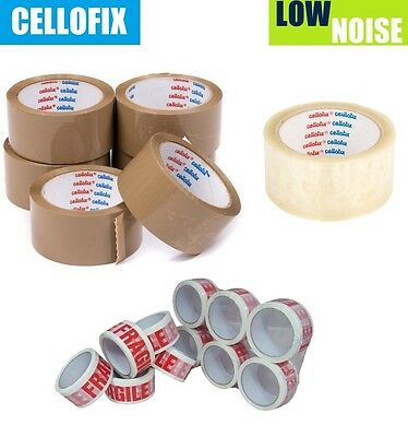 12 x CELLOFIX LOW NOISE PACKING PARCEL TAPE ROLLS BROWN FRAGILE TAPES CLEAR