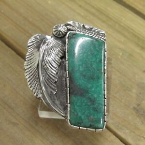 Vintage  Sterling Silver Natural Turquoise Ring Size 7.5