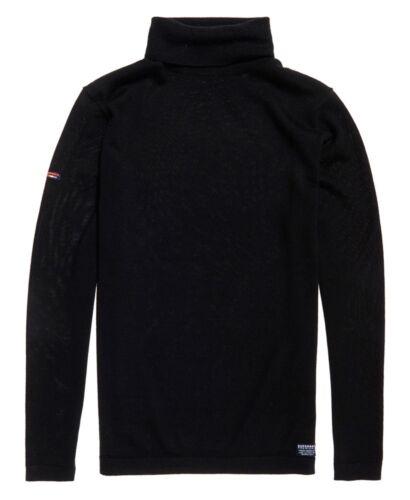 S Superdry Men/'s Merino Roll Neck Knit Wool Jumper Black Sizes XXXL