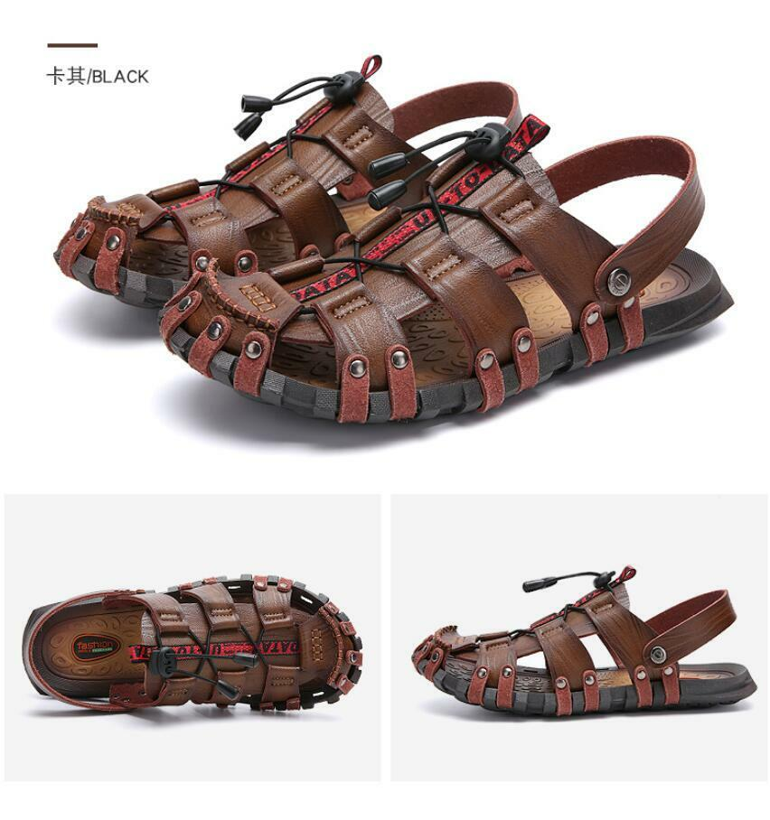 Mens Leather Hollow out Breathable Slippers zapatos Casual Slip on Sandals Loafers