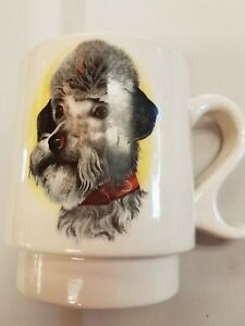 Vintage-Coffee-Mug-French-Poodle-Ceramic-Dog-Paris-Geegee-FeeFee-Kitchen-Fun-Old