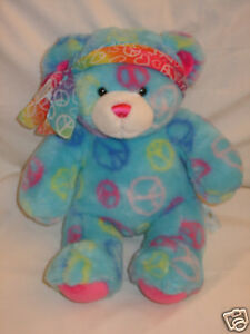 "Cute Build A Bear blue with peace signs & headband 16"" Lknw"