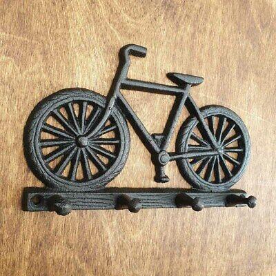 New Vintage-Look Rustic Quadruple 4 Hook Bike Bicycle Coat Hat Cast Iron Hooks
