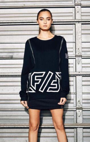 zip coton en double le surdimensionné shirt devant noir Sweat sur à xqHUFTB0w