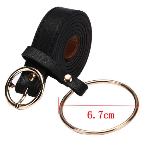 Retro Women Waist Belt Large Silver Metal Ring Fringe Pu Leather Belt Hoop YR