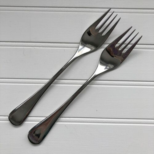 2 Vintage Cromargan WMF Finesse Spain Dinner Fork Glossy Stainless Pair Forks