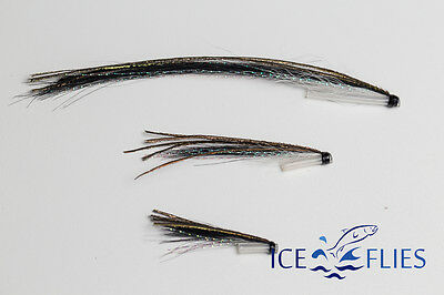 Pick a size. Sunray fish skull head Orange Tube fly 3-pack ICE FLIES