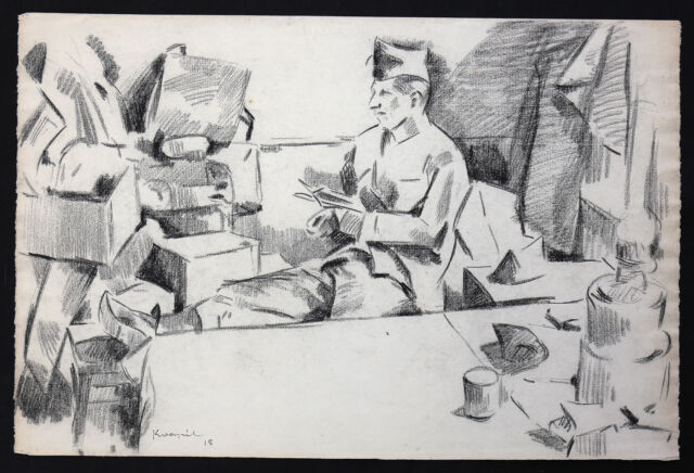 Charles Kvapil (1884-1957) all Soldiers 1918 Drawing Czechoslovakia School Paris