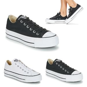 Dettagli su Scarpe Converse Chuck Taylor All Star Lift Clean Ox Core Canvas Zeppa Sneakers