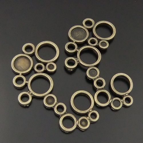 Atq Bronze Simple Circle Charms Connectors Pendants 10pcs 04386