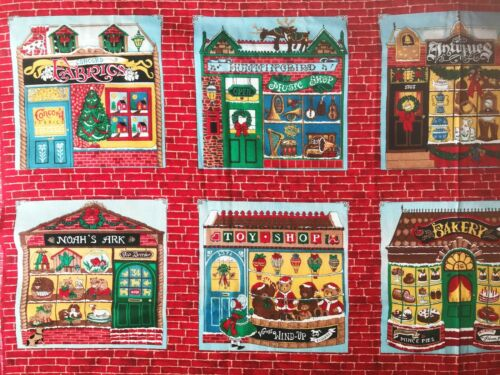 Vintage Cotton Quilt Fabric Christmas Village Houses by 1//2 Yard