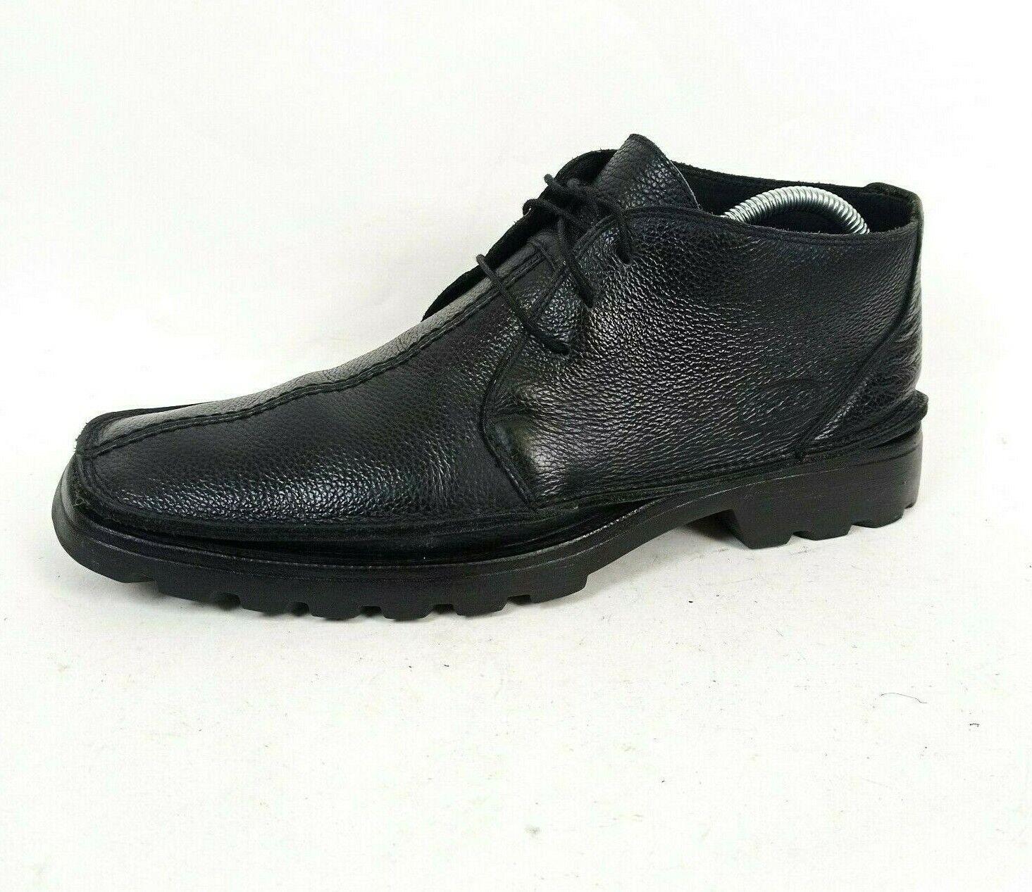 Base London Mens Black Pebble Leather Lace Up Chukka Ankle Boots UK 10