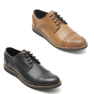 Mens Real Leather Smart Semi Brogue Dress Formal Office Lace Up Shoes Dinge Bequem Machen FüR Kunden