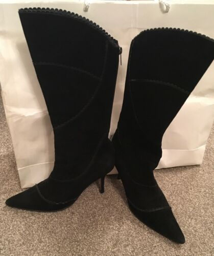 5 High Pointed Jimmy Toe Size calf Heel Suede Uk Genuine Mid Black Choo Boots 3 TxYqY6w8Z