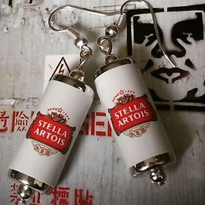 Unique STELLA ARTOIS EARRINGS handcrafted DESIGNER drink LAGER beer PUB bar CANS - England, United Kingdom - Unique STELLA ARTOIS EARRINGS handcrafted DESIGNER drink LAGER beer PUB bar CANS - England, United Kingdom
