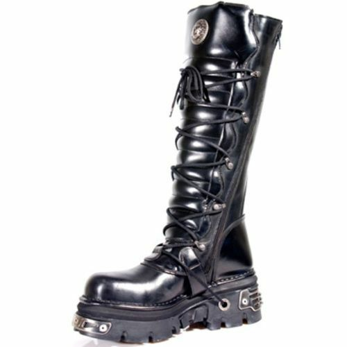 NEWROCK New Rock 272-S1 METALLIC schwarz GOTH KNEE HIGH ZIP LEATHER BUCKLE Stiefel