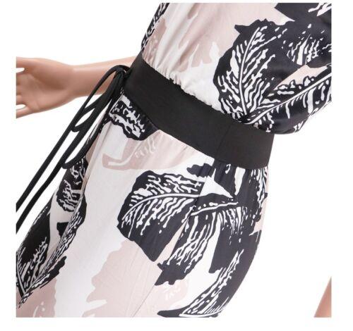 USA Summer Women Tropical Print Strapless Drawstring Waist Casual Jumpsuit #J1
