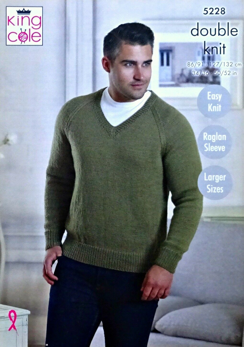 5091af3d6791a Knitting Pattern Mens Easy Knit Round or V-neck Jumper DK King Cole ...