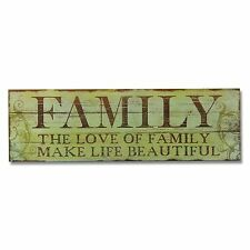"""Adeco Decorative Wood Wall Hanging """"Family"""" Sign Plaque,Christmas Holiday Gift"""