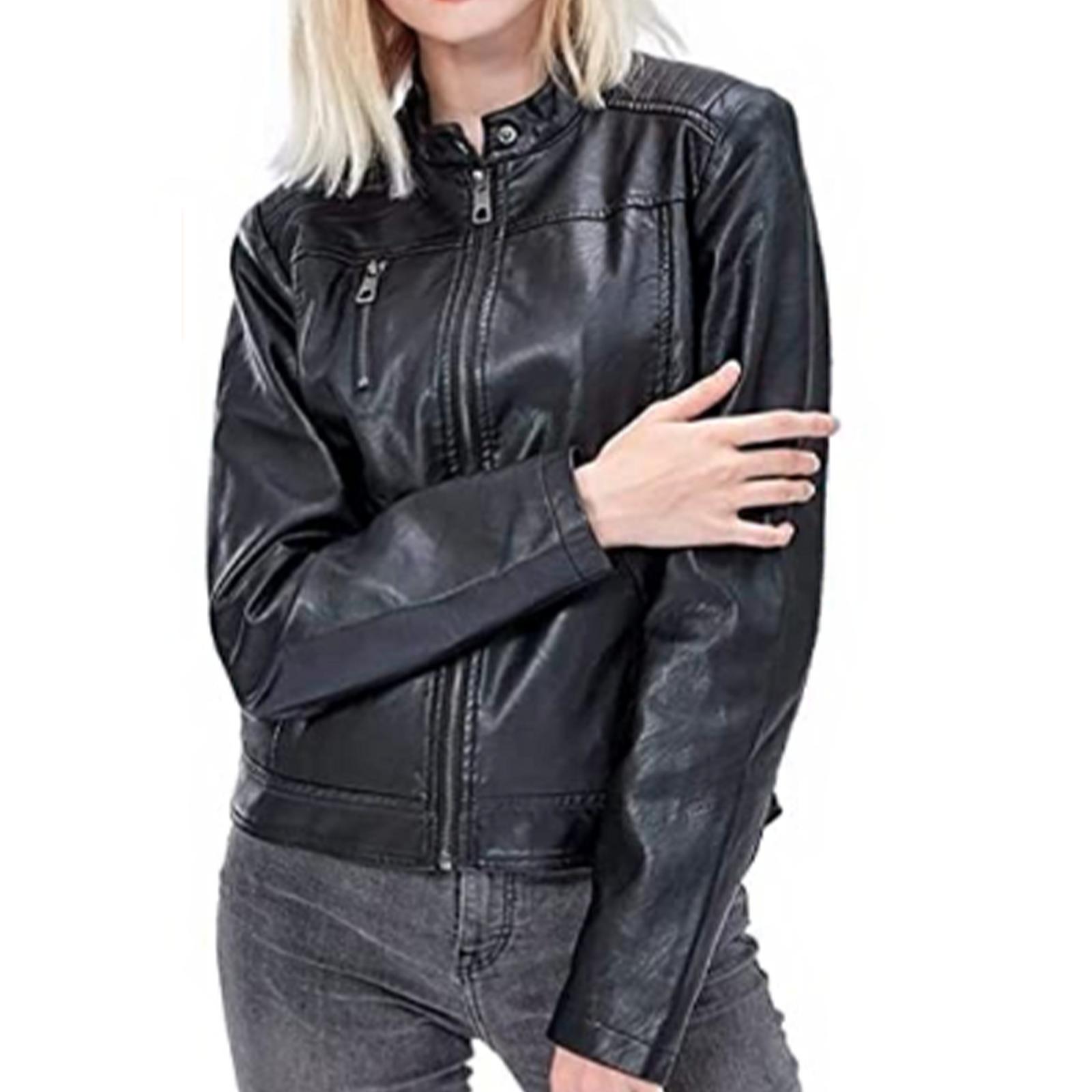New Women's Sheep Leather Jackets Zipper Motorcycle Moto Biker Outwear Slim Coat
