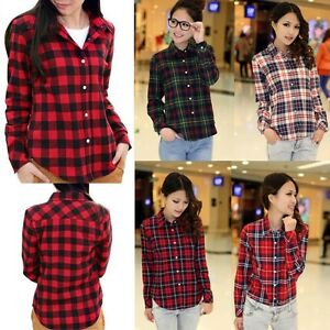 UK-LADIES-WOMENS-PLAID-CHECK-SHIRT-LONG-SLEEVE-FLANNEL-BUTTON-DOWN-BLOUSE
