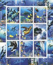PESCE DELFINI TARTARUGHE BALENE ANIMALI MARINI SEA LIFE 2000 Gomma integra, non linguellato FRANCOBOLLO SHEETLET