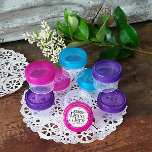 12-Clear-Jars-Purple-Pink-Aqua-Caps-Small-Plastic-Containers-1Tbl-1-2-oz-3803