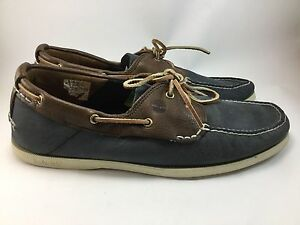 3dd2467a8 Timberland Men's Heritage 2 Eye Navy/Brown Leather Boat Shoes Size ...