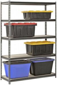 Rack-5-Shelf-Steel-Shelving-Storage-Silver-18x48x-72-Garage-Wood-Metal