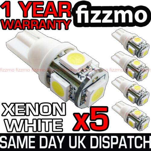 5x5 SMD LED 501 T10 W5W PUSH WEDGE CAPLESS HID BRIGHT WHITE SIDE LIGHT BULB L@@K