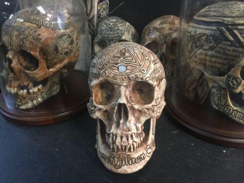 Real Human Skull Replica SIGNED Templar Knight Masonic mason memento mori
