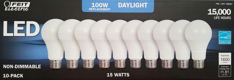 Paquete De 10 Luz LED 15W Bombillas luz del día 5000K 1600 lúmenes 100 vatios equivalente