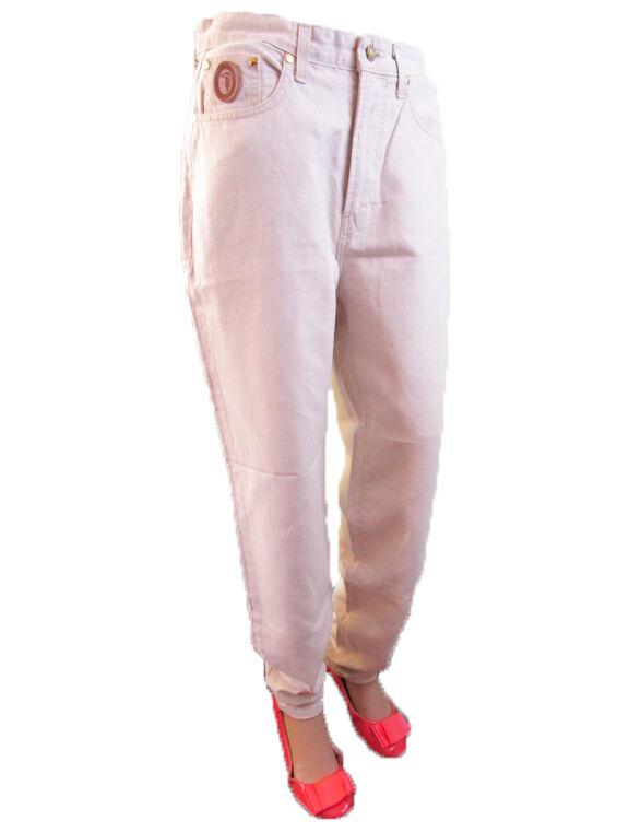 TRUSSARDI  Woman Vtg 80s sz 32 Highwaist Cotton Linen Casual Trousers J39