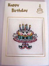 "Birthday Card Completed Cross Stitch Birthday Cake 6x4"""